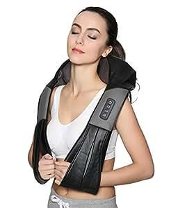 Nekteck Shiatsu Deep Kneading Massage Pillow with Heat, Car/Office Chair Massager, Neck, Shoulder, Back, Waist Massager Pillow [Speed Control, Bi-Direction Control] - Black