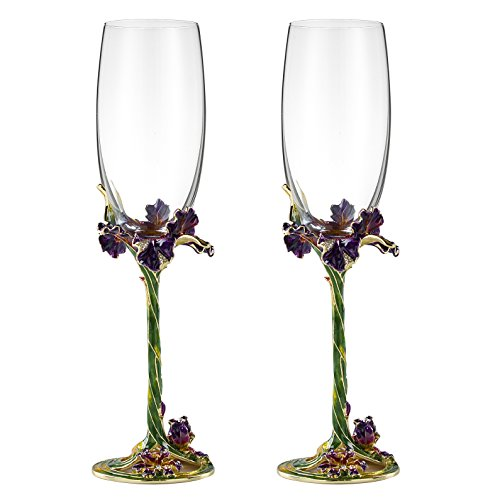 Champagne Flutes Set of 2, Champagne Glasses 7.5oz, Crystal Lead-free Glass Enamel Champagne Glasses