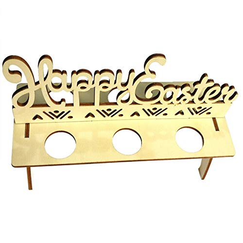 1PC Wooden Easter Egg Tray Holder Stand Happy Easter Stencils Easter Bunny with Eggs Painting DIY Decor (3#)