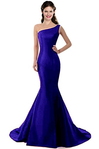 Color E Dress Design Brief Elegant Burgundy Mermaid One-Shoulder Evening Dress Size 8 Blue
