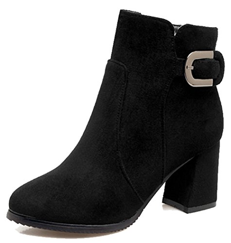 Easemax Womens Trendy Frosted Buckled Strap Round Toe Mid Chunky Heel Side Zipper Ankle Boots Black xEJHq2M0LS