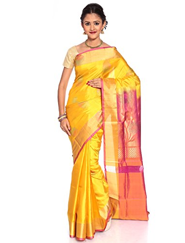 Shop Pure Silk Sarees - Mandakini - Indian Women's Kanchipuram - Handloom - Pure Silk Saree (Yellow)