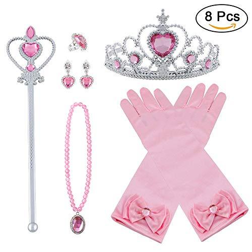 Accesorios Princesa 8Pcs Regalo Conjunto de Belleza Corona Anillo Cetro Collar Pendientes Guantes para Niña (Rosa)