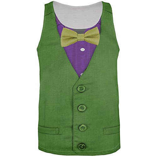 [Mardi Gras Green and Purple Vest Costume All Over Adult Tank Top - X-Large] (Mardi Gras Costumes Vest)