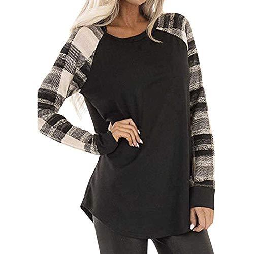 (Women Stripe Patchwork Shirts,Sunyastor Cotton Long Sleeve Lightweight Casual T-Shirt Loose Tunic Sweatshirt Pocket Blouses)