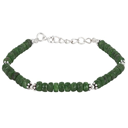 Silverly Women's .925 Sterling Silver Green Emerald Gemstone Flower Bead Bracelet, 18.5+2cm - Bracelet Thai Silver Gemstone