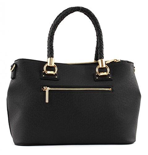 Liu Jo M 2 Zip Satchel Manhattan - Bolsos maletín Mujer Negro (Nero)