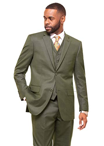 (DANNY COLBY Men's 2 Button Vested Suit. (Olive), Modern FIT 3 PC)