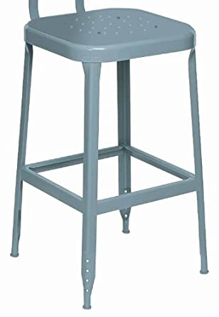 "Lyon BB1701 All Welded Steel Seat Stool with Black Rubber Feet, 18"" Height, 400 lbs Capacity, Wedgewood Blue, (Pack of 2)"