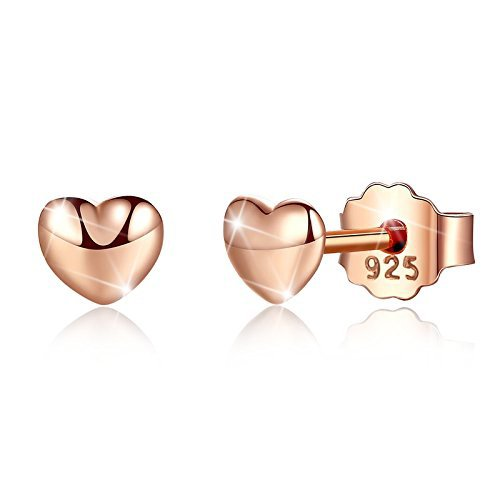 Bamoer 18K Rose Gold Plated Screw Back Heart Sterling Silver Stud Earrings (4 Mm Heart Stud)