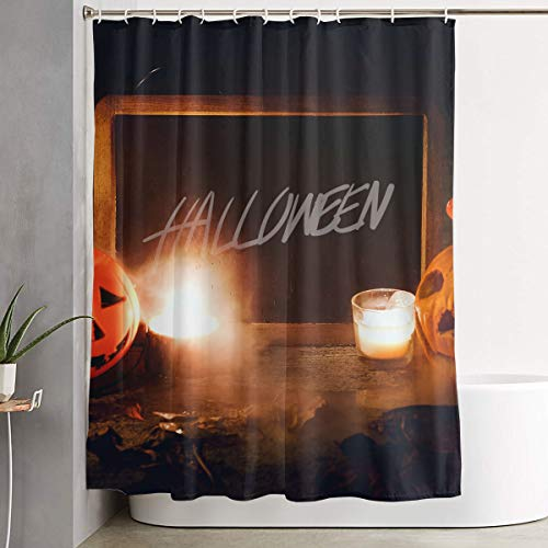 Candle Halloween Horror Jack O Lantern Pumpkin Scary Trick Or Treat Bathroom Shower Curtain Decorative Toilet Celebrate Ornament Picks Set Prints Themed All Supplies Accessories Sale Indoor Home Room ()