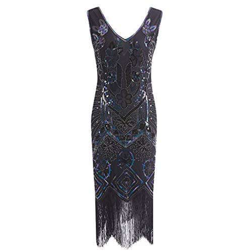 (ABASSKY Women's 1920s Flapper Dress Crystal Sequin Embellished Fringed Gatsby Dress)