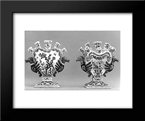 (Samson and Company - 24x20 Framed Museum Art Print- Pair of nozzled vases)