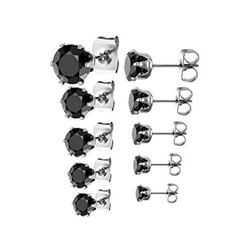 925 sterling silver 5 Pair Set of Black CZ Stud Earrings in (3 Pair Set)