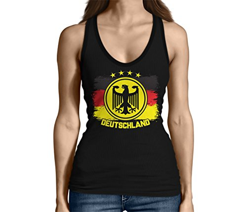 - Junior's Deutschland Eagle Crest Tank Top (Black, Large)