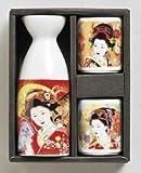 日本の心シリーズ 金彩美人 レッド 扇  1合徳利 盃(2) 酒器セット美濃焼
