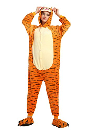 ZEALOVE Unisex-adult Pajamas Kigurumi Onesie Costume Animal Cosplay Anime Cartoon (M, Tigger)