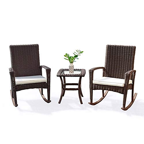 Tangkula 3 Piece Patio Furniture Set, Wicker Rattan Outdoor Patio Conversation Set, with 2 Cushioned Chairs & End Table, Backyard Garden Lawn Chat Set, Chill Time Modern Outdoor Furniture (Dark Brown) (Furniture Outdoor Sets Wicker)