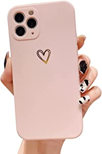 Ownest Compatible with iPhone 11 Pro Max Case for Soft Liquid Silicone Gold Heart Pattern Slim Protective Shockproof Case for Women Girls for iPhone 11 Pro Max-Pink