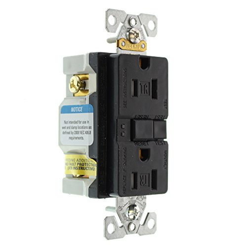 Eaton GFCI Self-Test 15A -125V Tamper Resistant Duplex Receptacle with Standard Size Wallplate,  Black