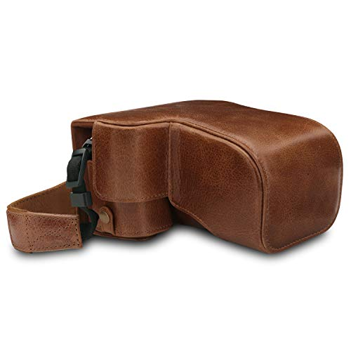 MegaGear MG1656 Ever Ready Genuine Leather Camera Case Compatible with Sony Alpha A6400 (18-135mm) - Brown