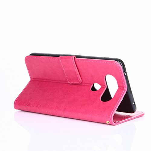 Yiizy LG V20 (H910, H918, LS997. US996. VS995) Funda, Hierba FlorDesign Premium PU Leather Slim Flip Wallet Cover Bumper Protective Shell Pouch with Media Kickstand Card Slots (Rose Red)