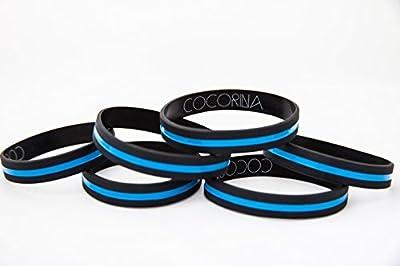 Police Officer Thin Blue Line Bracelets - 3, 6 & 12 Pack of Law Enforcement Wristbands / Support Bands