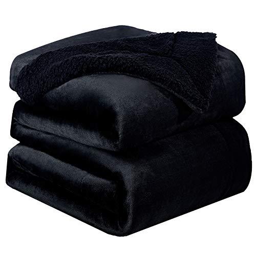 Bedsure Sherpa Fleece Blanket King Size Black Plush Blanket Fuzzy Soft Blanket Microfiber