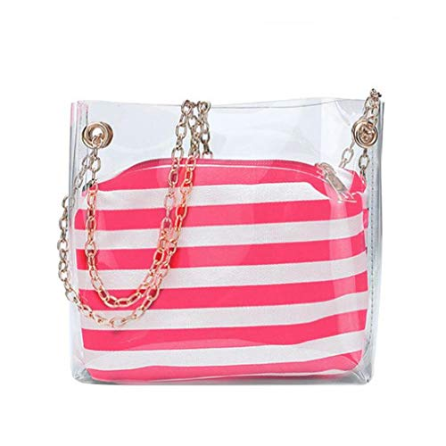 Composite Red Shoulder Striped 2 Bags Black Jelly Bags Pcs Transparent xYqw7Wtw1z