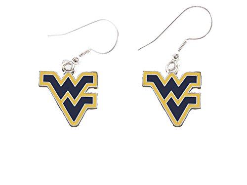 West Virginia Mountaineers Enamel Gold Blue French Hook Earring (Enamel French Hook Earrings)