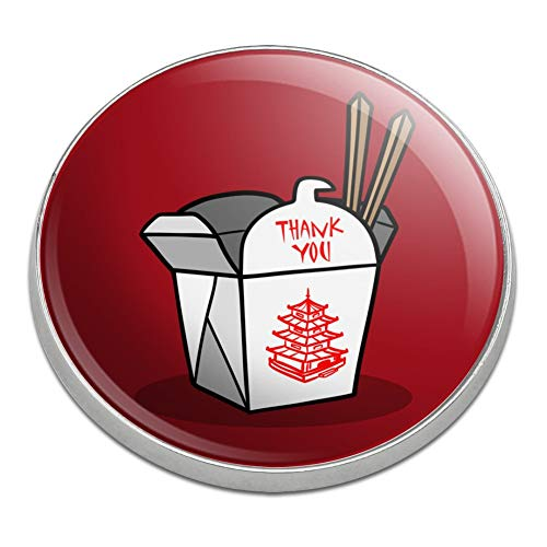 GRAPHICS & MORE Chinese Food Takeout Box with Chopsticks Golfing Premium Metal Golf Ball Marker