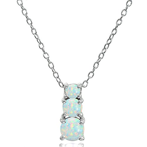 Sterling Silver Simulated White Opal Round Graduating Three Stone Pendant Necklace ()