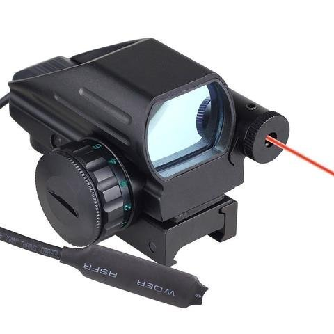 HOLOGRAPHIC LASER SIGHT SCOPE REFLEX 4 RED GREEN DOT RETICLE W/ PRESSURE SWITCH ()