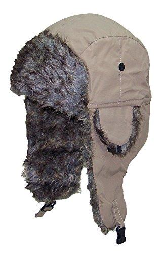 Best Winter Hats Soft Nylon Faux Fur Russian/Aviator Hat (One Size) - Tan