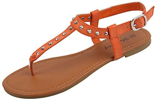 Thong Orange Sandals (New Womens Sandals Roman Gladiator Flats T Straps Thongs Ladies Shoes Medusa & Eva (2202-Orange, 9))