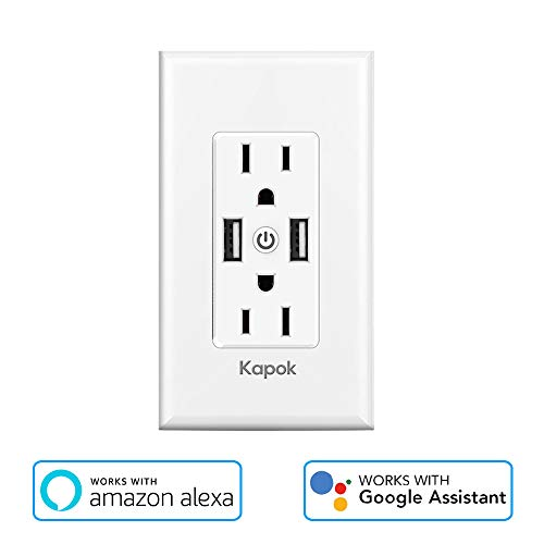 Smart WiFi Wall Outlets - Duplex Receptacle are Independently Controllable,Works with Alexa Google Assistant IFTTT, No Hub Required,Standard Wall-in Outlet Share With 5V/2.4A Fast Charge(New)