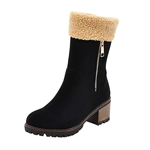 LONGDAY ⭐ Women Suede Warm Outdoor Slip On Comfortable Square Heel Ankle Snow Booties Winter Boots Flock Plush ()