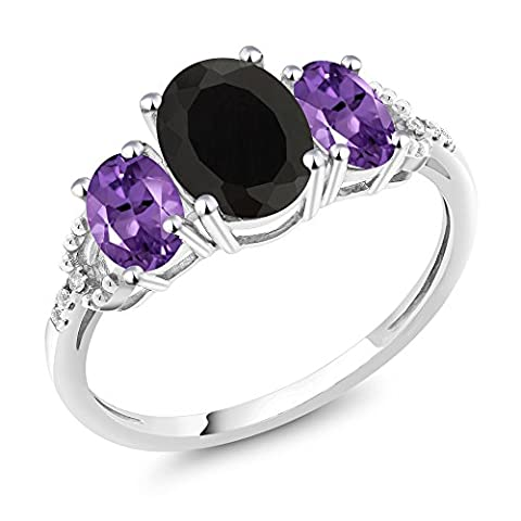 10K White Gold Diamond Accent Three-Stone Engagement Ring set with 2.00 Ct Oval Black Onyx Purple - Set Oval Onyx Ring