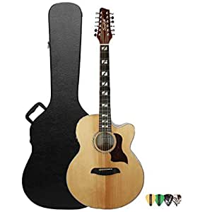 sawtooth maple series 12 string acoustic electric cutaway jumbo guitar with hard case and pick. Black Bedroom Furniture Sets. Home Design Ideas