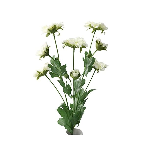 JAROWN 8 Heads Long Branch of Artificial Chrysanthemum Flowers Silk Plants Bouquet Arrangements for Garden Kitchen Dining Table DIY (White)