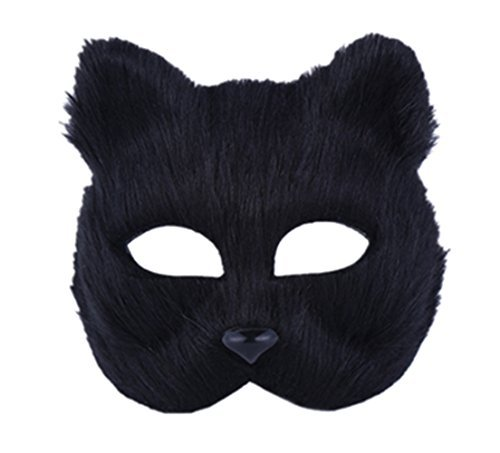 RANDER Halloween Animal vizard Mask glyptostrobus Men and Women Half Face Props Short Hair Cute Fox (Black) -