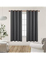 Deconovo Blackout Curtains 2 Panel Room Darkening Shades Curtains Thermal Insulated Curtains Window Curtains for Bedroom 55x63 Inch Dark Grey