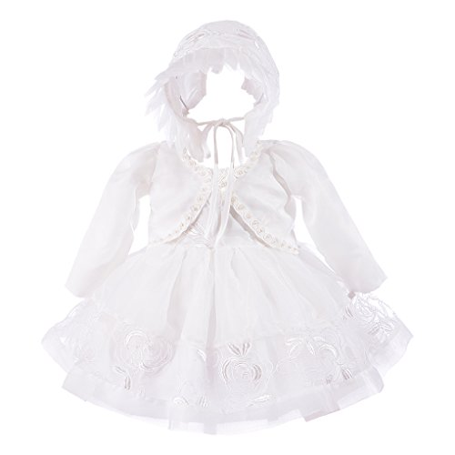 Xopzsiay Baby Girls Floral Embroidered Christening Gown Baptism Tulle Dress with Bolero Bonnet Ivory Size ()