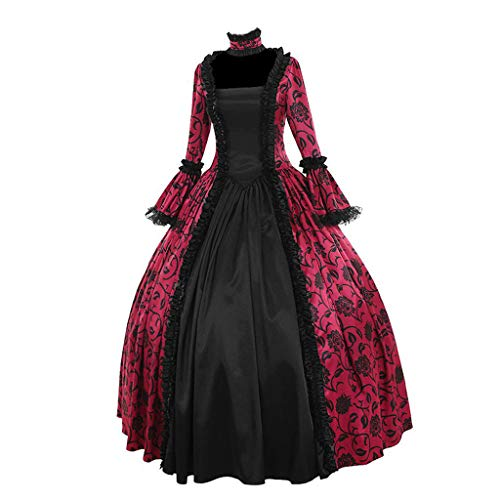 Clearance Gothic Dress, Forthery Women's Victorian Poplin Long Sleeve Hooded Halloween Lolita Retro Gown(Hot Pink,S)