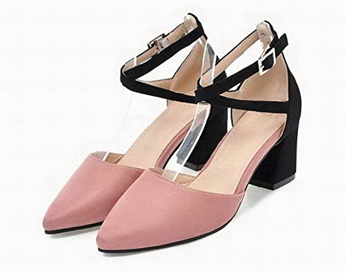 Women Assorted Color Frosted VogueZone009 Toe Sandals Kitten Heels Pink Closed dYw4xP