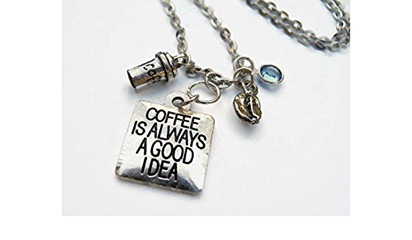 Coffee is always a good idea Espresso Maker Personalized Hand Stamped Initial Birthstone Coffee Stainless Steel Expandable Bangle Bracelet