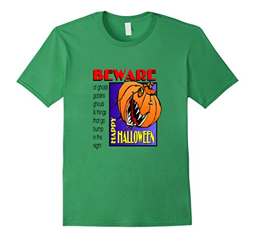 Mens Green Goblin Costume (Mens Beware of Ghost and Goblins Happy Halloween Costume T-Shirt Medium Grass)