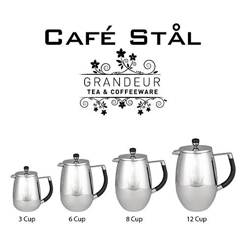 Café Stal GPC-03 Deluxe Double Wall 18/10 Stainless Steel Grandeur Cafetieres, Mirror Polished, 2-Cup