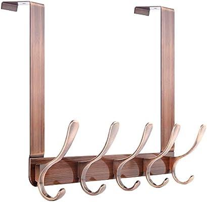 2 Pack Chrome SKOLOO Over The Door Hook 5 Tri Hooks Over Door Hanger for Bathroom Bedroom Stainless Steel Heavy Duty Over Door Hook for Hanging Coats Clothes Towels