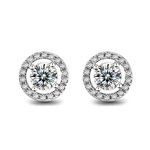 ORANGELOVE 18K White Gold Plated Rose Gold Plated Cubic Zirconia Stud Earrings for Women Wedding Enagement Jewelry Gifts